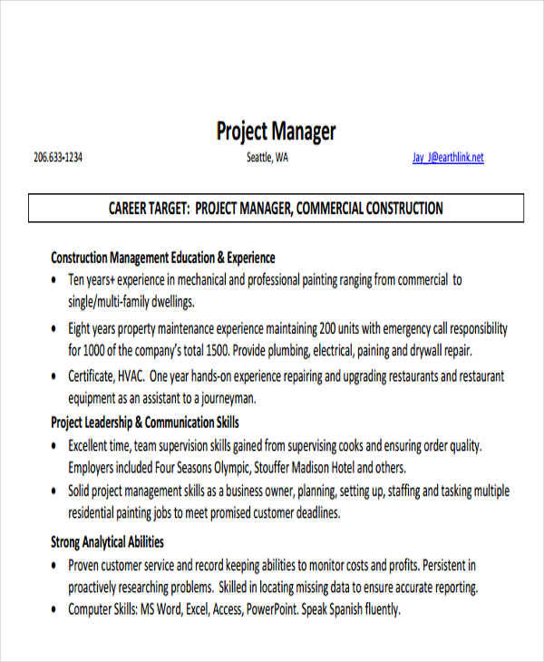 26  professional manager resume