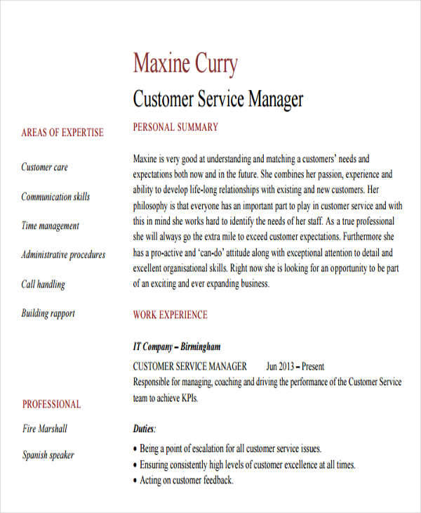 Professional-Resume-for-Customer-Service-Manager Sample Digital Resume Format on job application, for high school students,