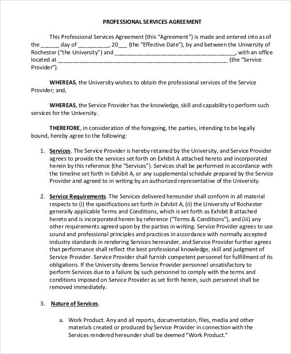 professional services agreement form
