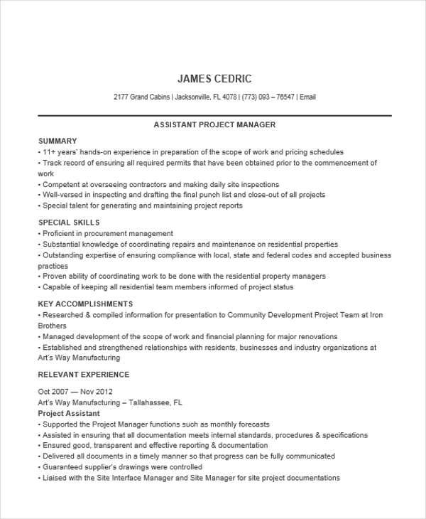 project manager assistant resume