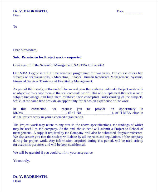project requisition letter