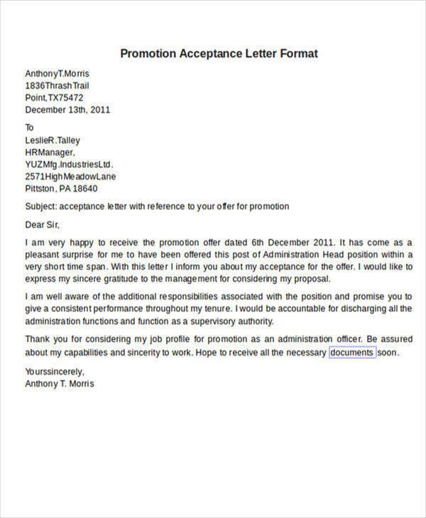 promotion acceptance letter format