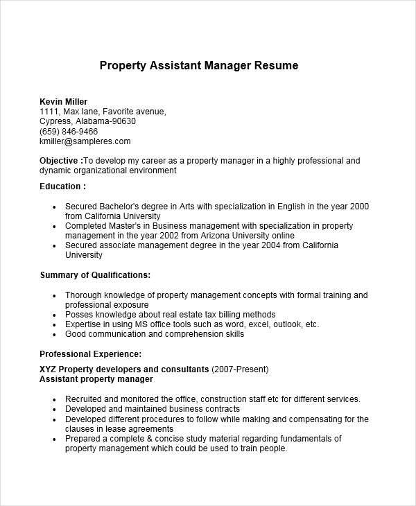 property assistant manager