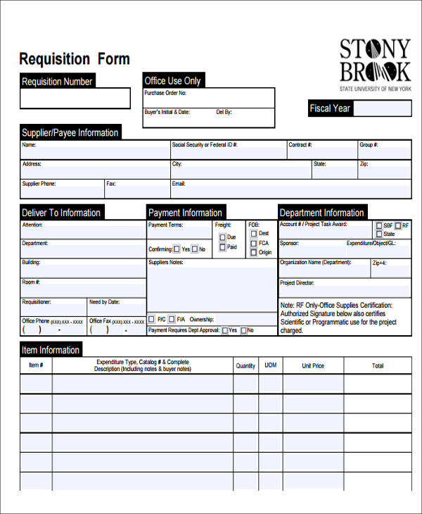 Requisition Forms In Doc