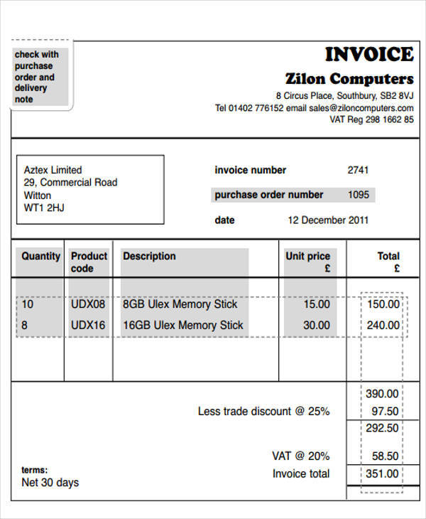 Invoice Templates Sample Templates - Purchase invoice sample