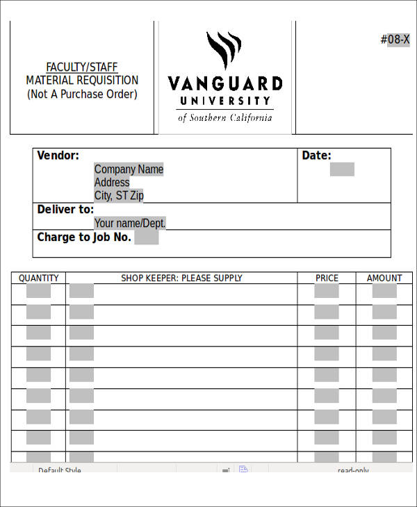purchase order material requisition form