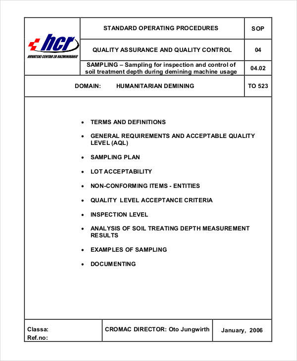 quality control procedure template - 61 sop templates sample templates