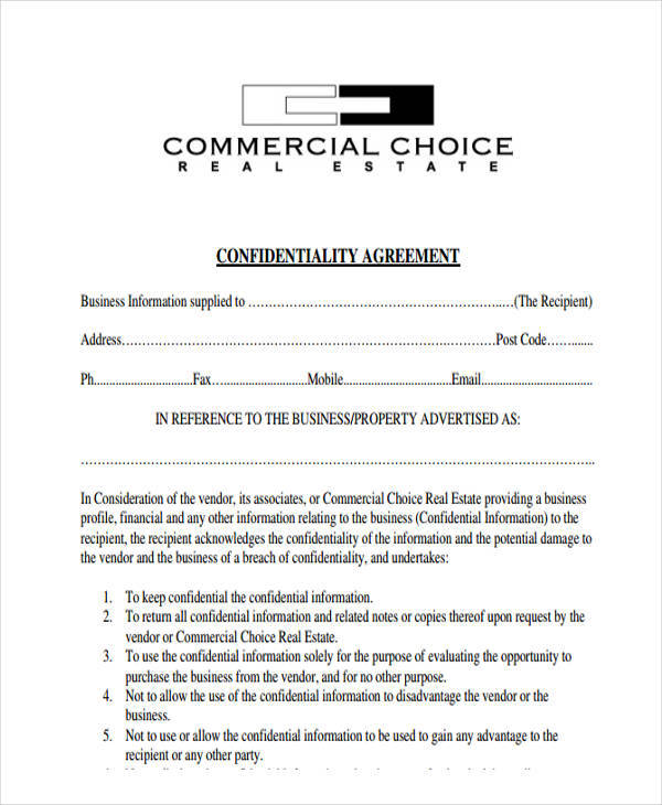 Sample Real Estate Confidentiality Agreements  Free Sample