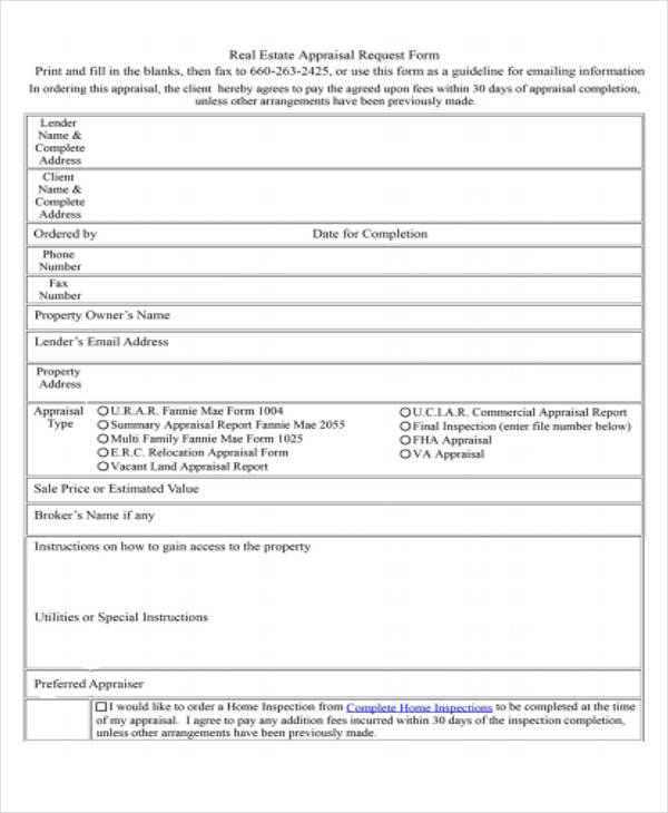 real estate appraisal request form