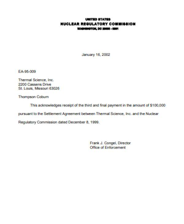 receipt of final payment letter format