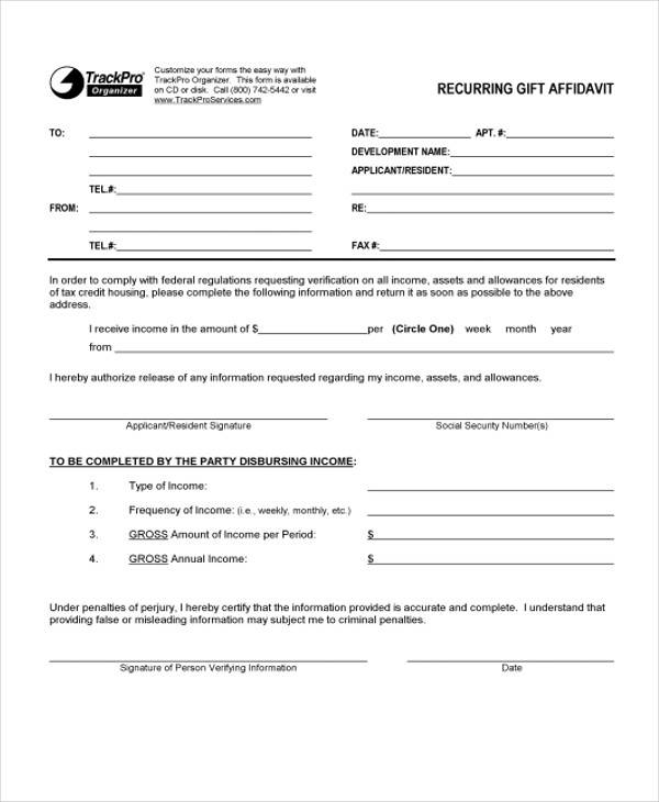 recurring gift affidavit form