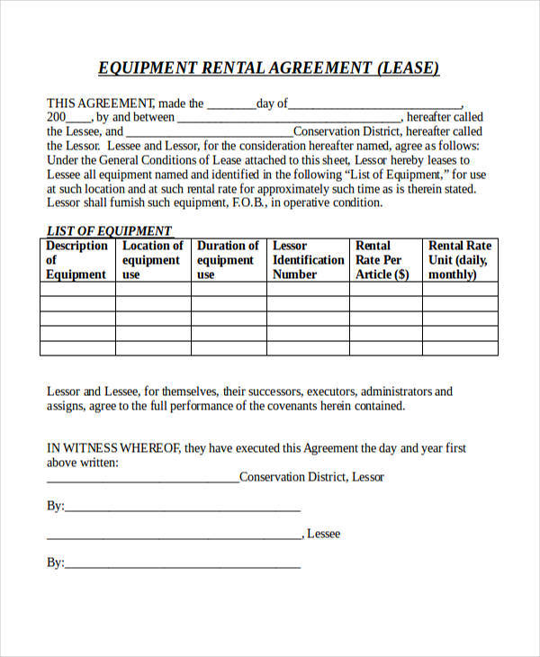 rental equipment contract agreement