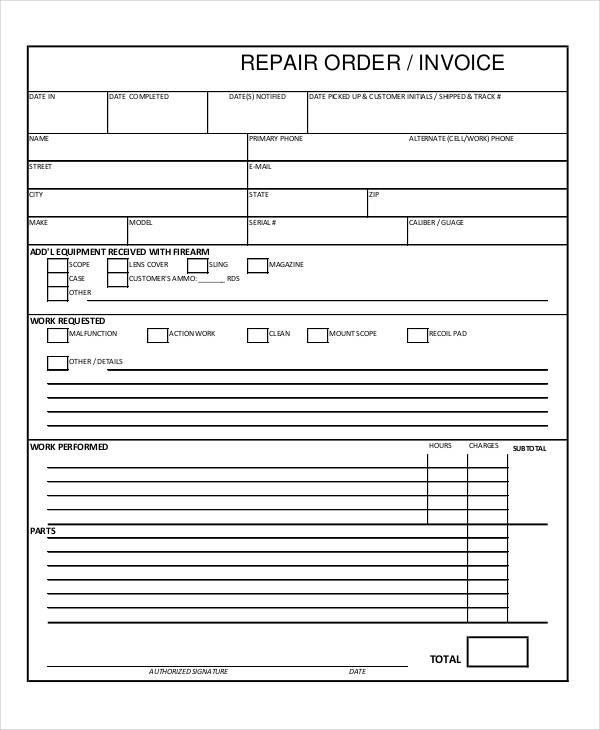 repair order invoice