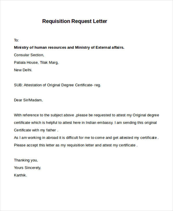 Requisition Letter Samples
