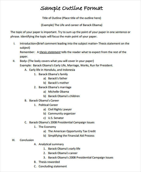 Research paper outline format sample