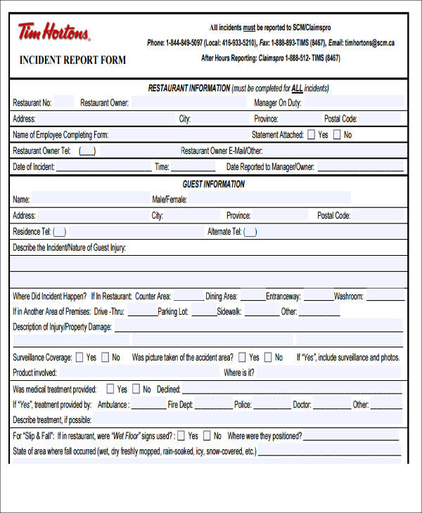 restaurant employee incident report form