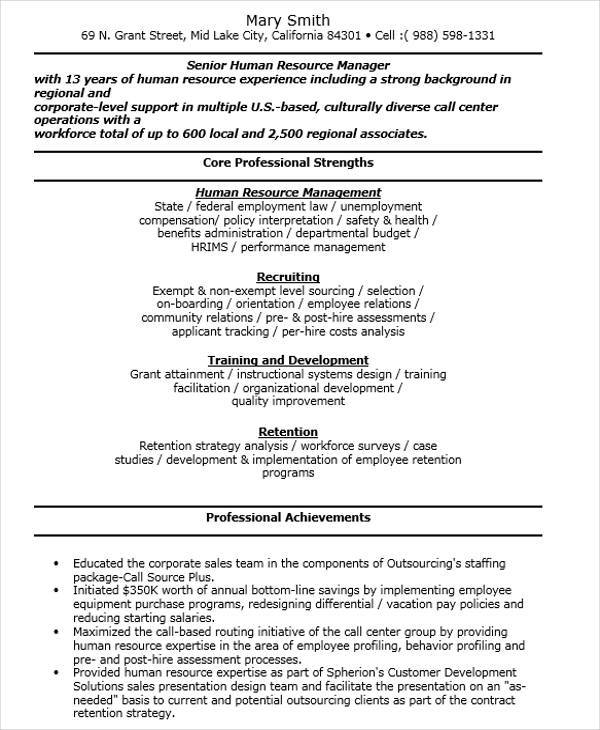 senior hr manager resume sle 28 images title attorney