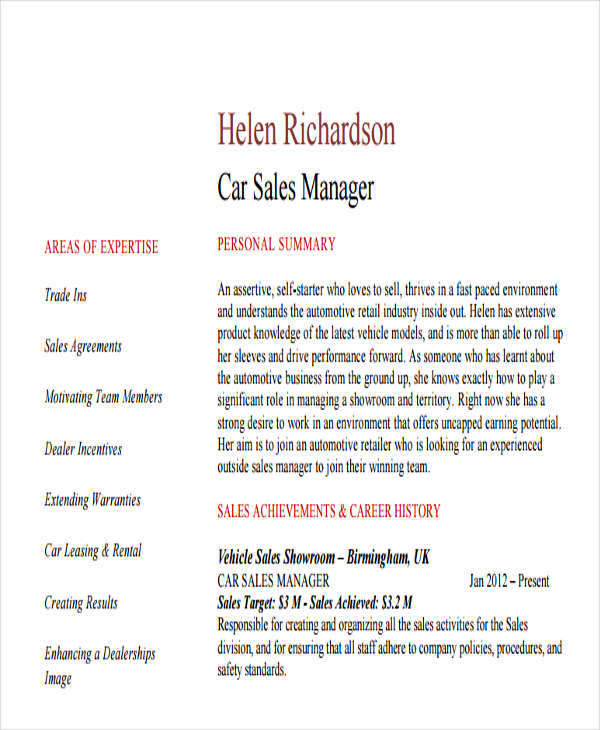 resume for car sales manager