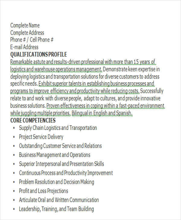 resume for logistics operation manager