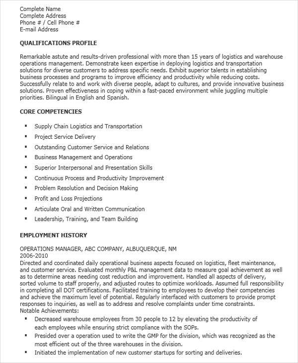 resume for logistics operation manager1