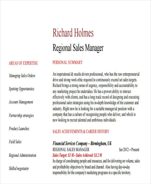 resume for regional sales manager
