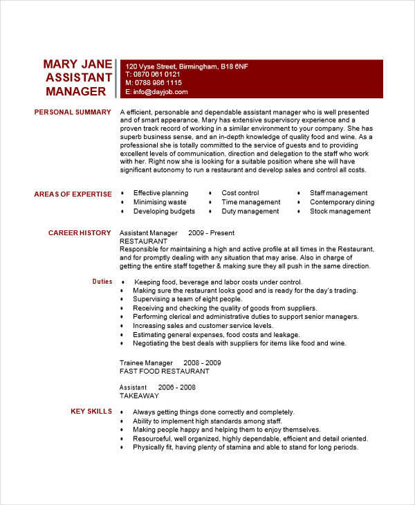 resume for restaurant assistant