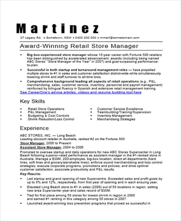 resume for retail store manager