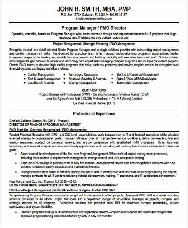 resume for senior program manager
