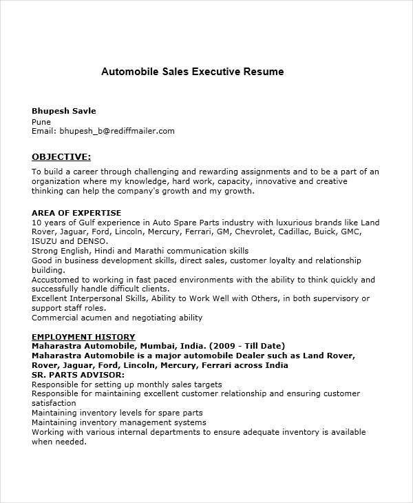 free executive resumes - Sales Executive Resume