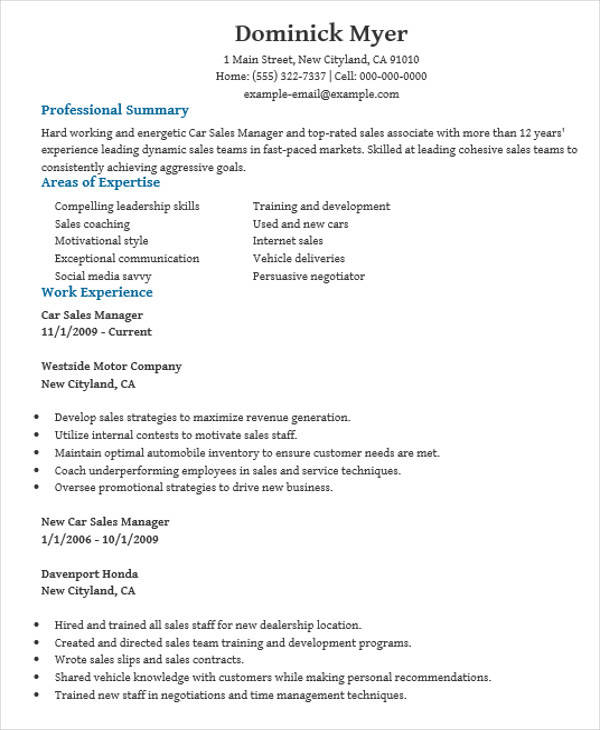 resume of car sales manager1