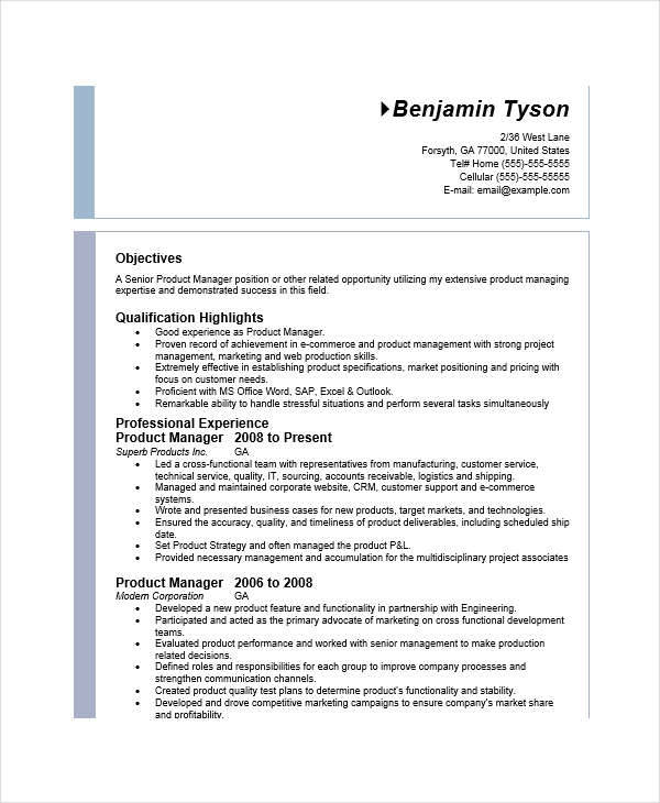 resume of it product manager