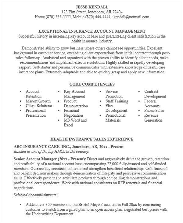 insurance account manager resume template samples advertising cv example executive sample