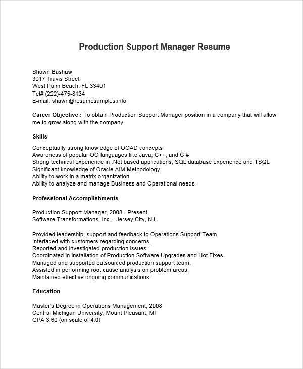 resume of production support manager