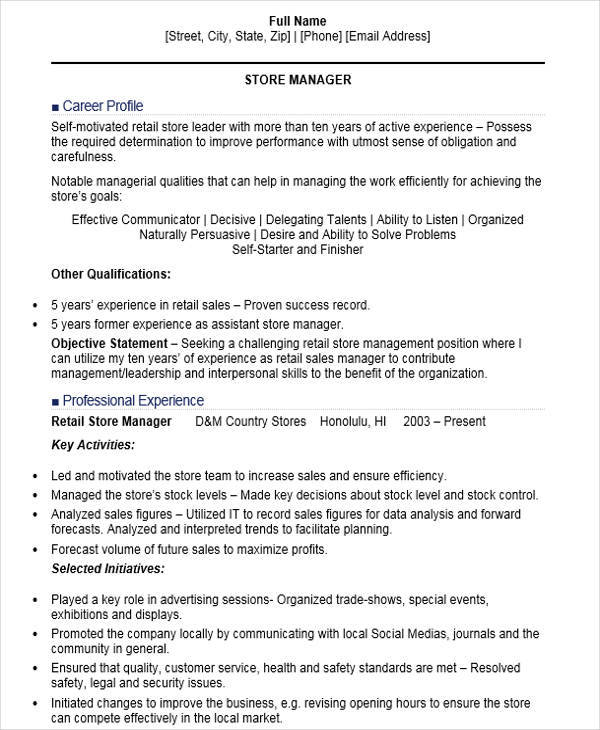 88 retail store manager resume thesis template