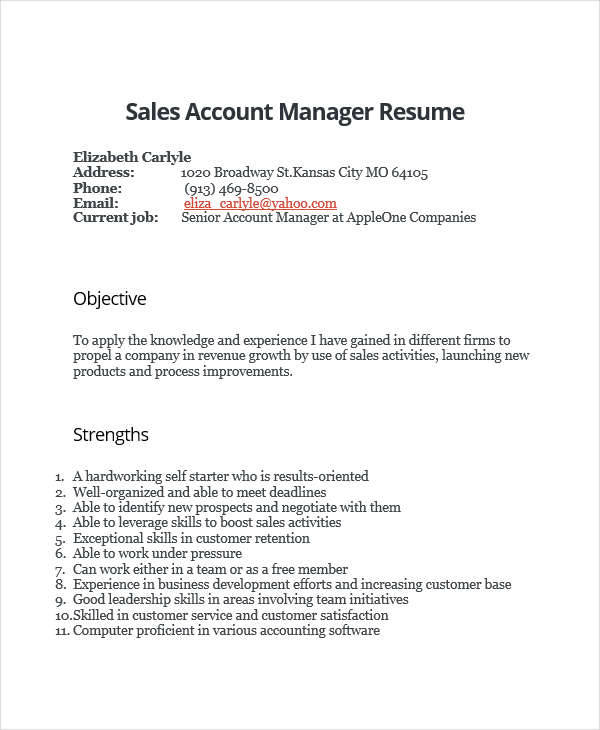 resume of sales account manager