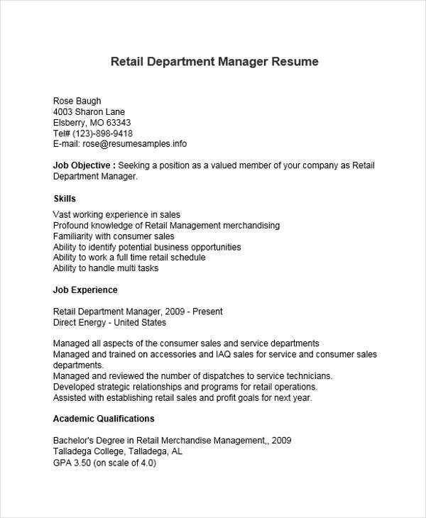 41 Manager Resumes In Word
