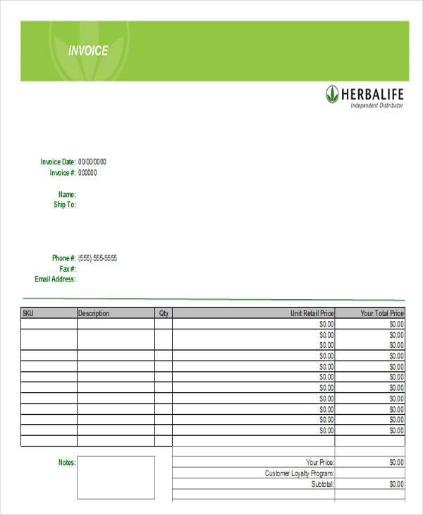 44  invoices in excel