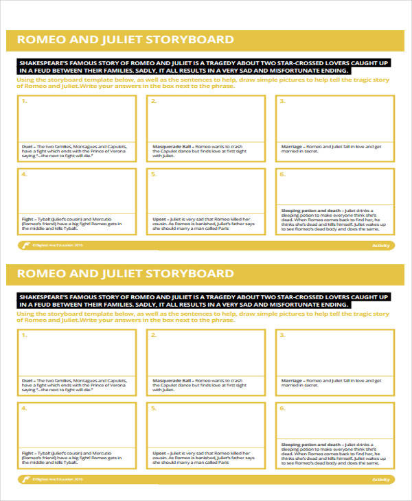 43 storyboard templates in pdf sample templates for Romeo and juliet powerpoint template