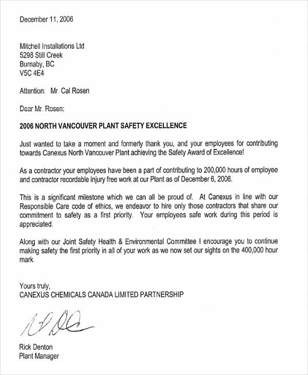 safety award appreciation letter