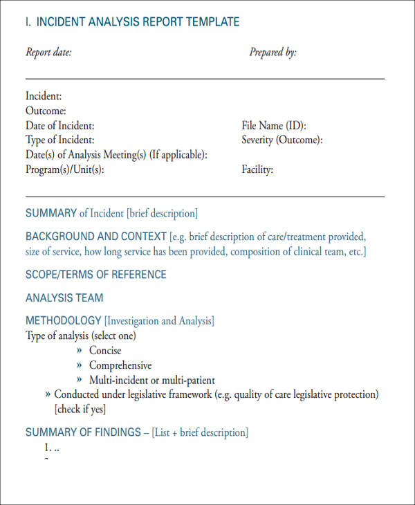 safety incident analysis report