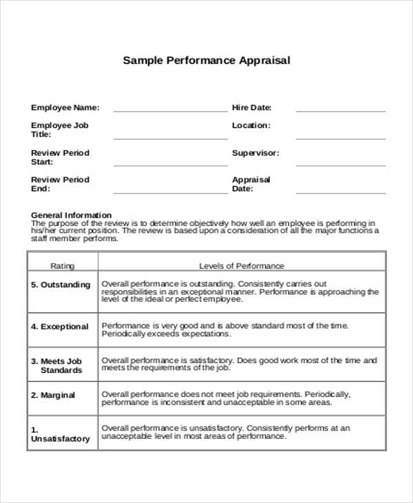 Annual Appraisal Form Free Annual Appraisal Form Sample Annual