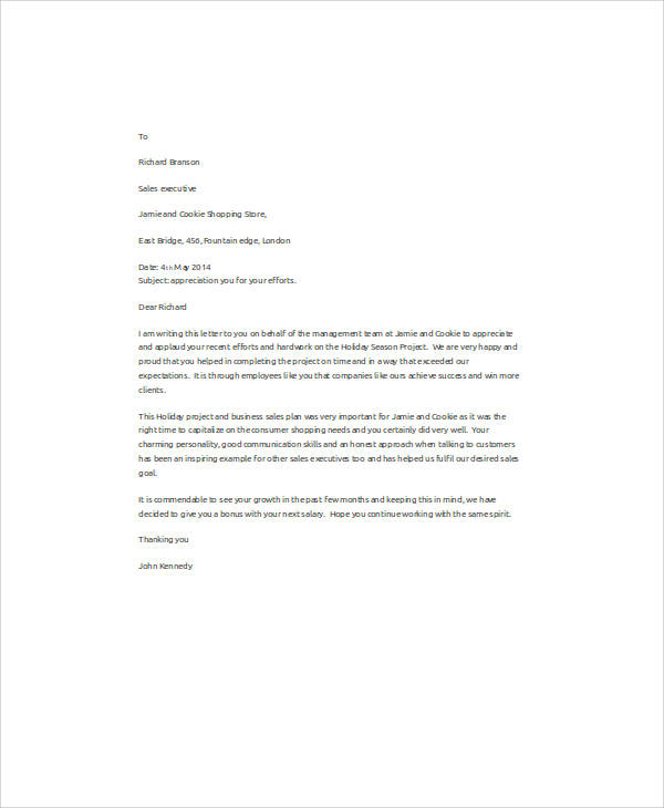 Sales Employee Appreciation Letter