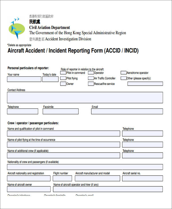 sample aircraft incident report