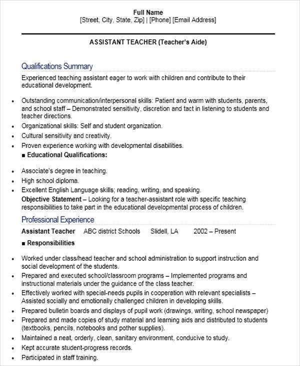 Teacher Resume Formats