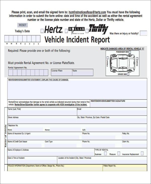 sample car incident report