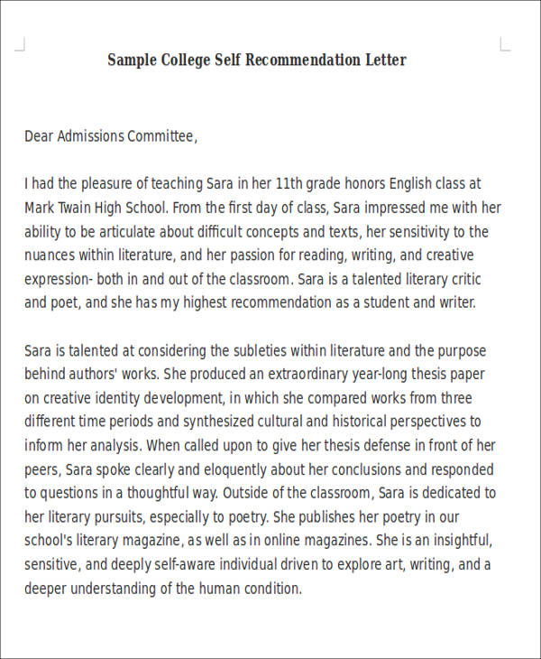 Marvelous Sample College Self Recommendation Letter