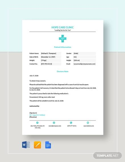 sample doctor note template
