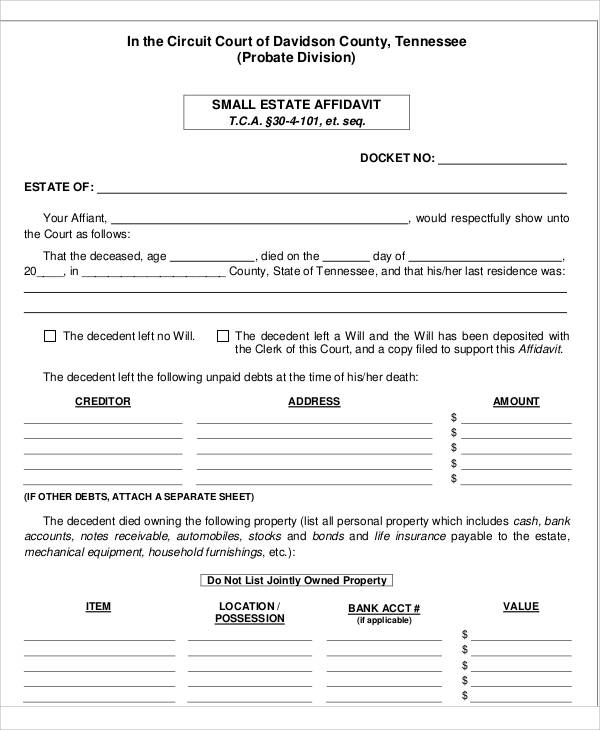 Sample Estate Affidavit  Free Affidavit Form Template