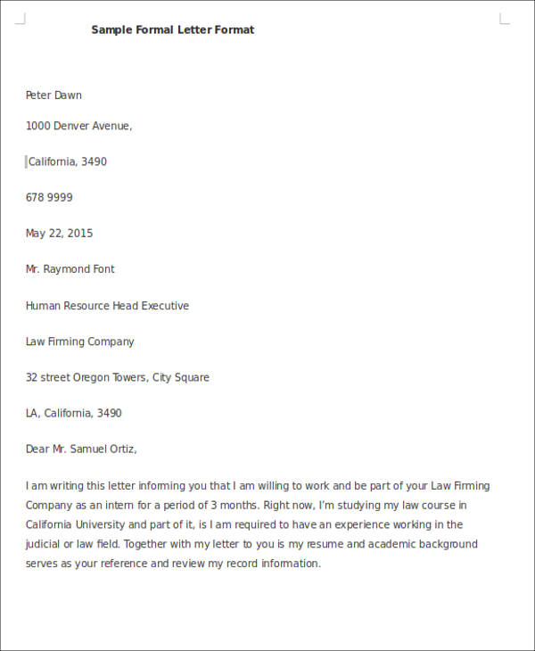 sample formal letter format doc