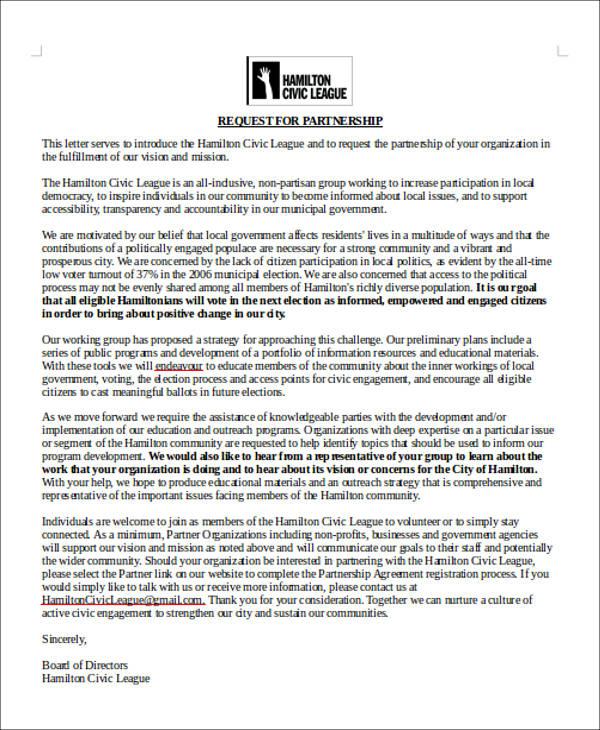 sample letter of partnership